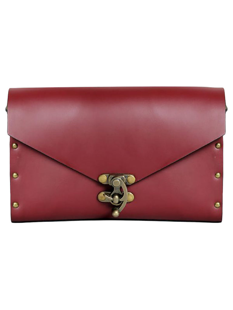 Maroon Leather Harness Sling Bag