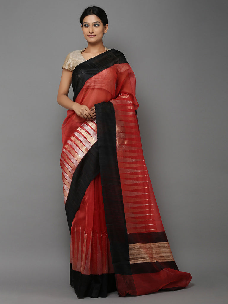 Maroon Black Hand Woven Banarasi Cotton Silk Saree