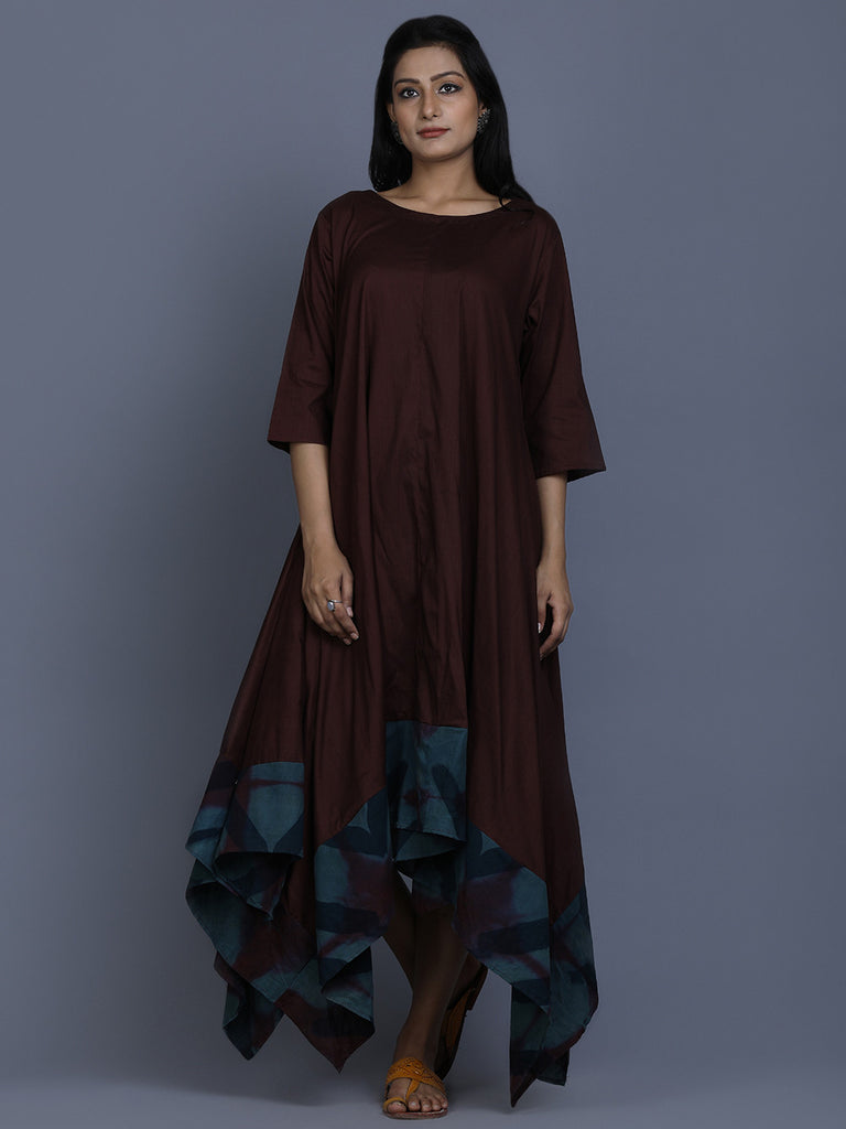 Brown Blue Cotton Shibori Dye Asymmetric Dress