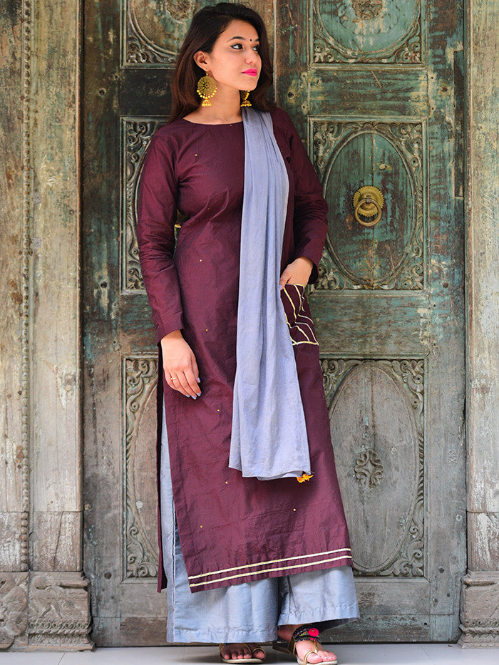 Burgundy Chanderi Kurta with Grey Palazzo and Bird Tassel Scarf  - Set of 3