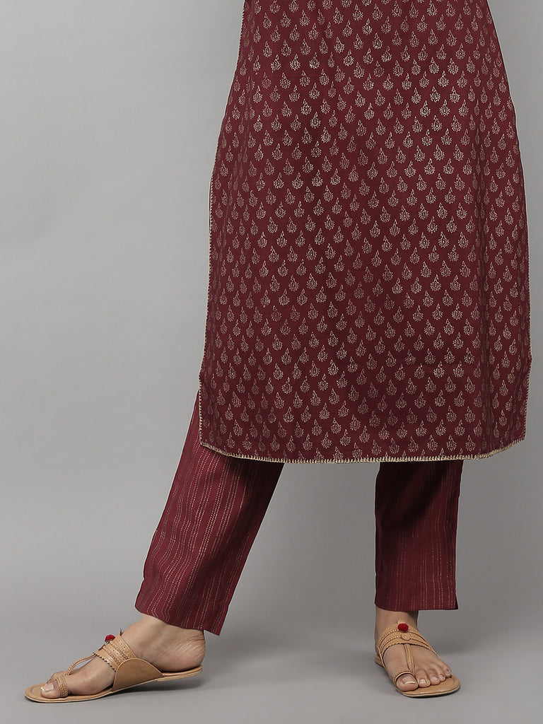 Maroon Chanderi Pants with Cotton Lining