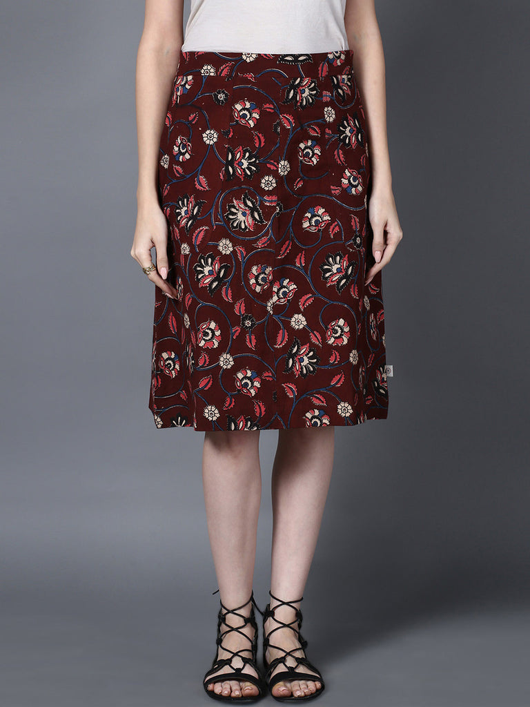 Maroon Cotton A Line Kalamkari Skirt