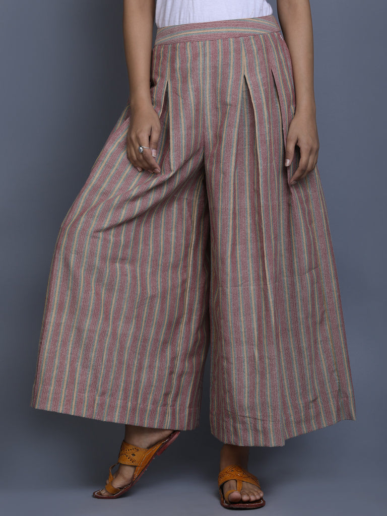 Brown Cotton Box Pleated Pants