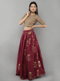 Maroon Cotton Floral Printed Lehenga with Beige Blouse