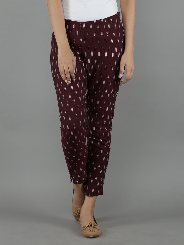 Maroon Cotton Ikat Pants