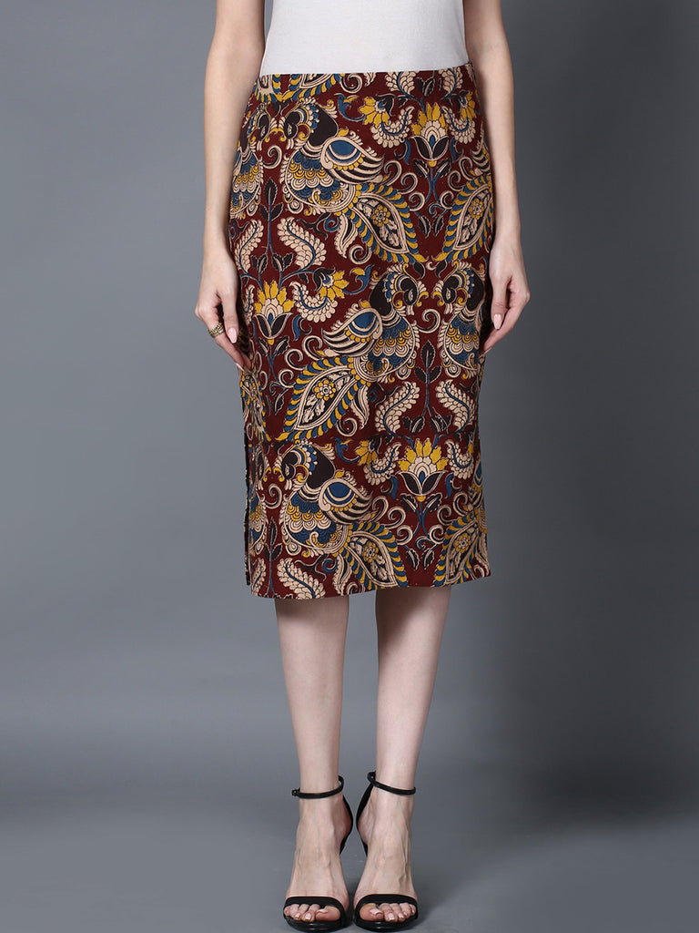 Maroon Cotton Kalamkari Pencil Skirt