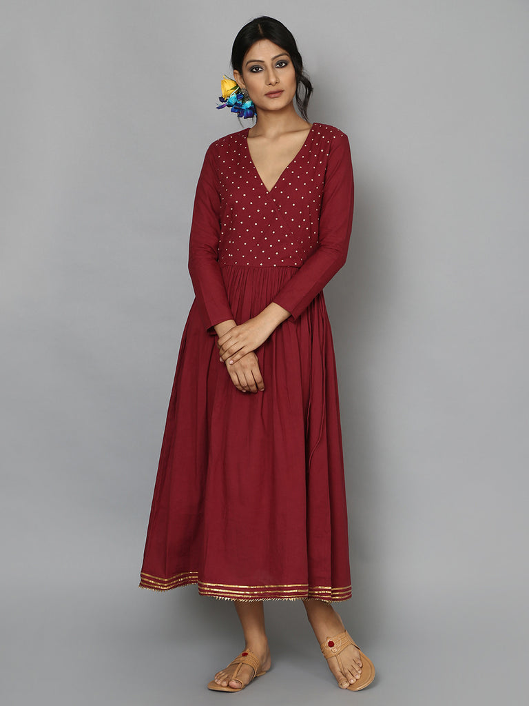 Maroon Cotton Mul Angrakha Dress