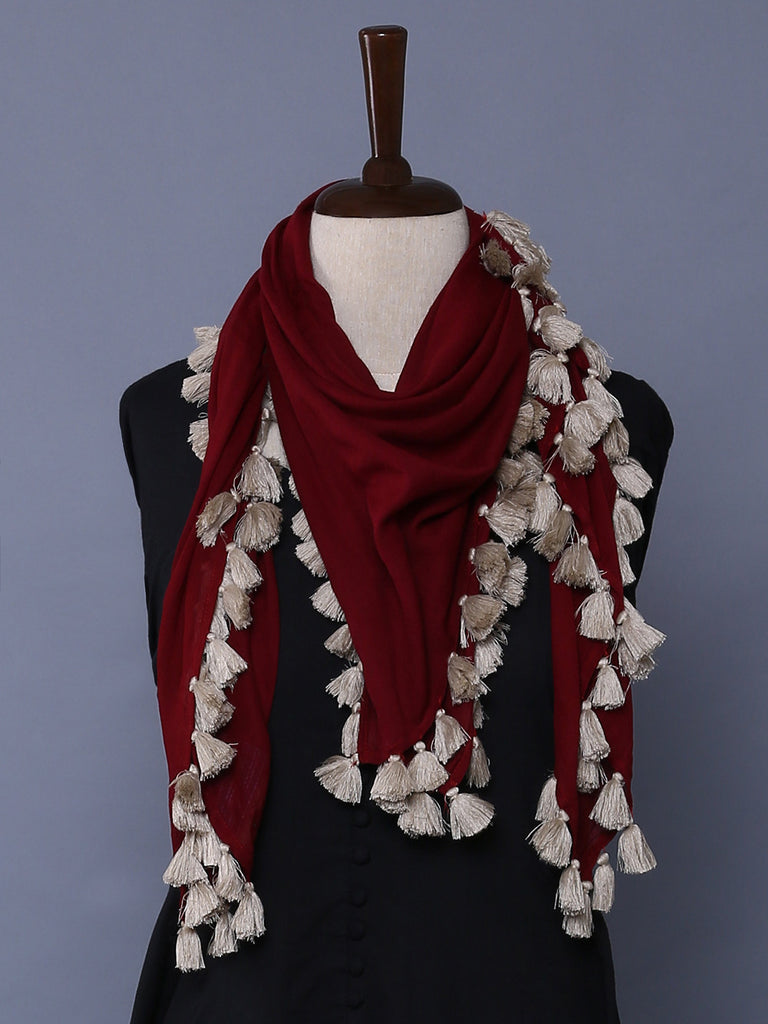 Maroon Cotton Mulmul Square Scarf with Tassels