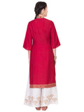 Maroon Cotton Silk Wrap Dress