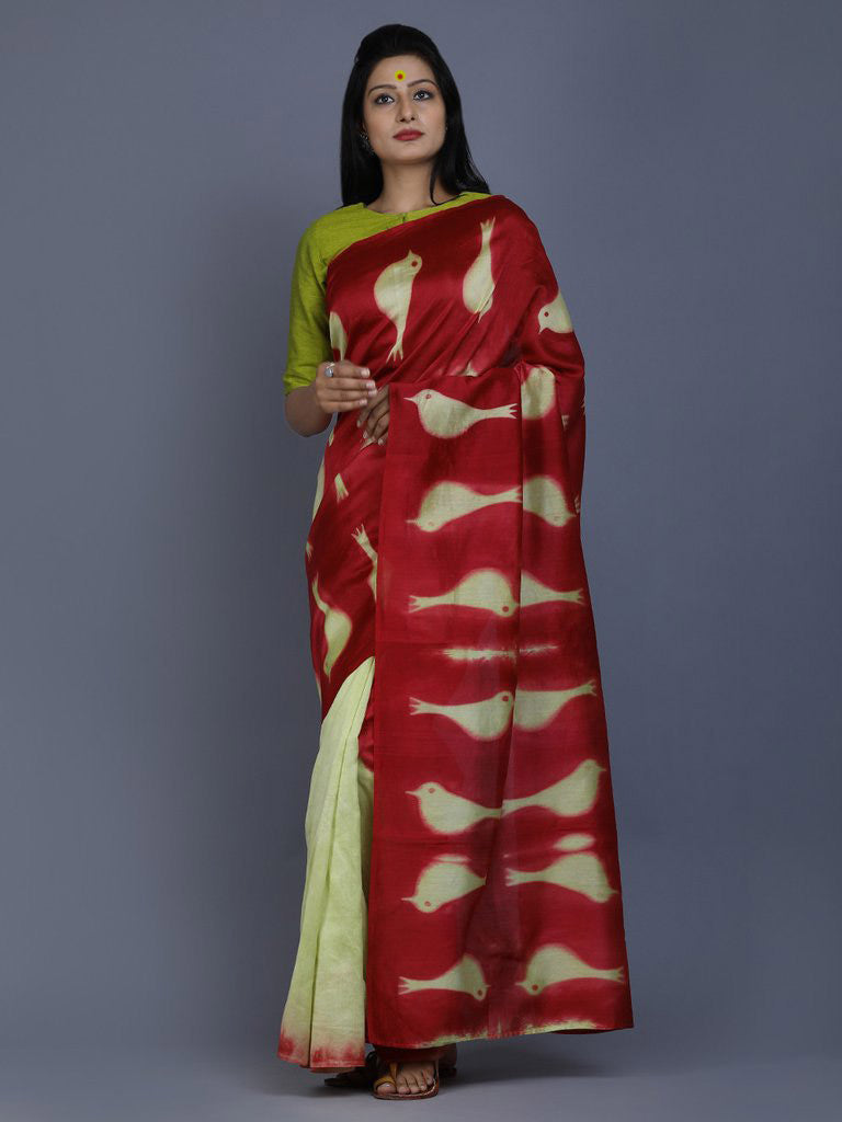 Maroon Green Clamp Dyed Chanderi Silk Bird Saree