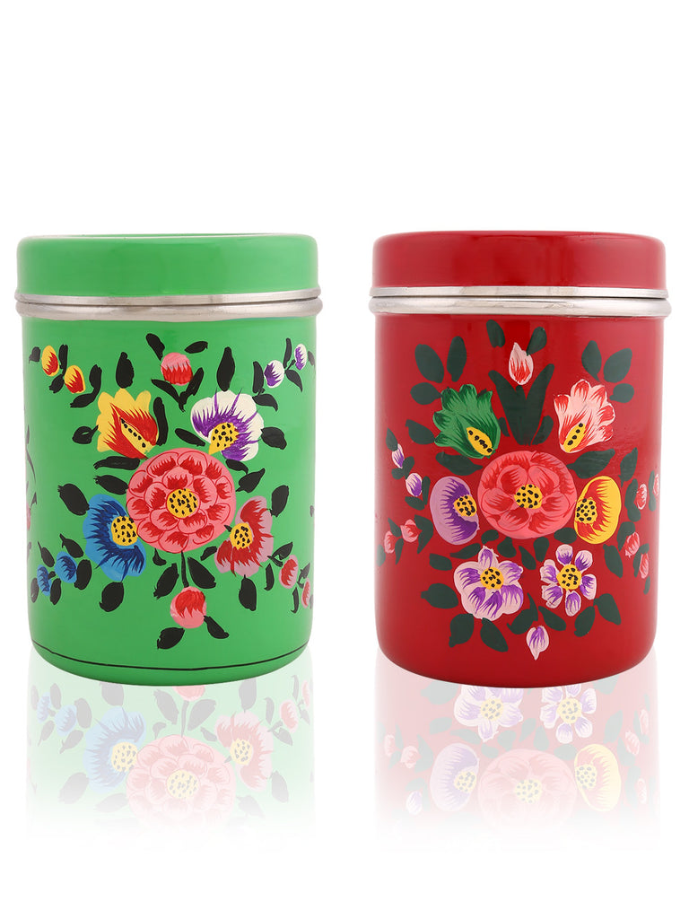 Maroon Green Hand Painted Steel Canisters - Set of 2