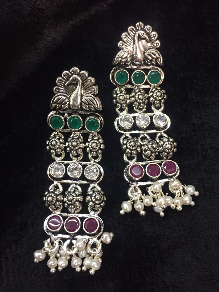 Maroon Green Peacock Silver Earrings