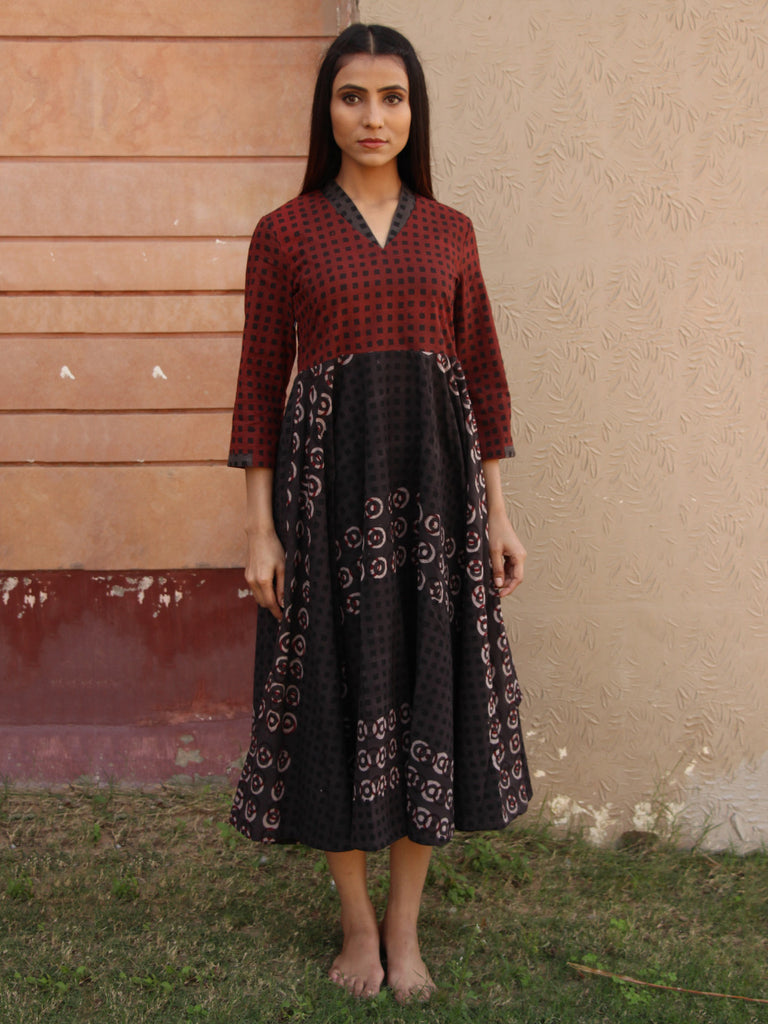 Maroon Grey Block Printed Cotton Flared Dress