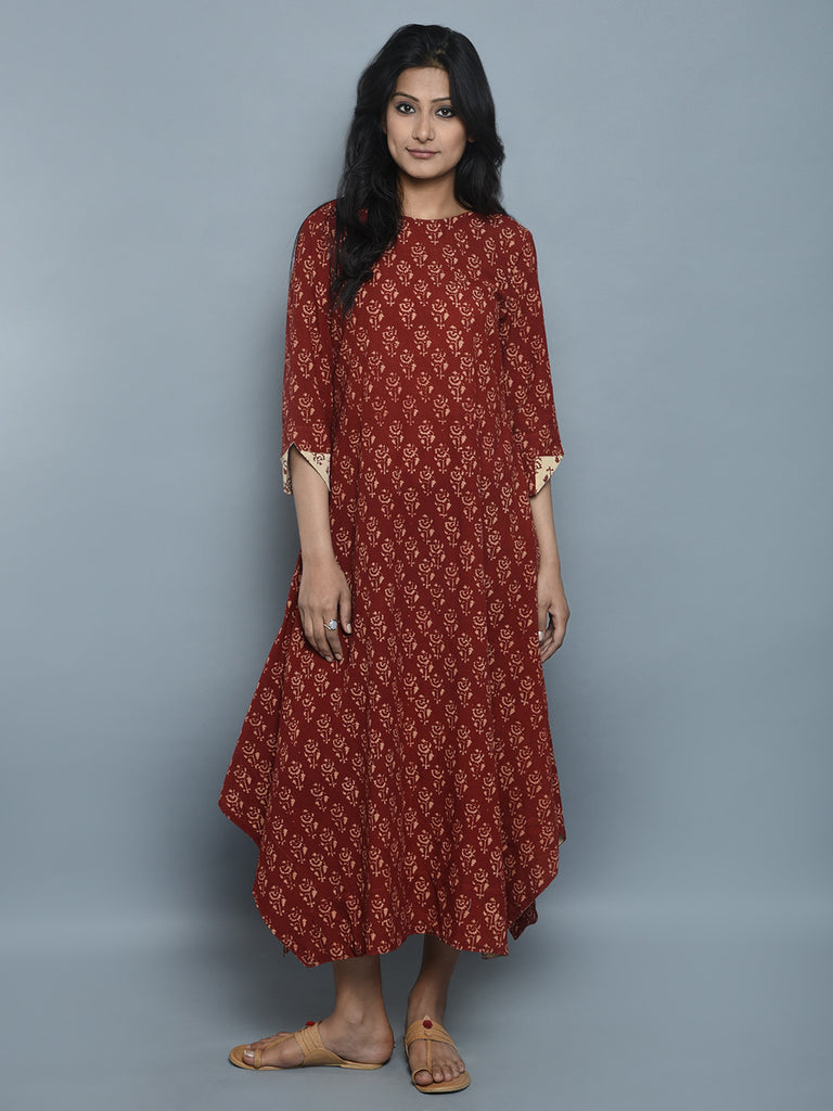 Maroon Hand Block Printed Cotton Dress