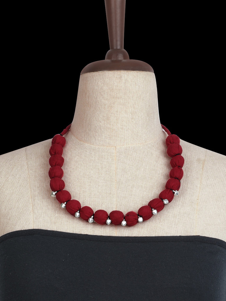 Maroon Hand Crafted Ghungroo Necklace