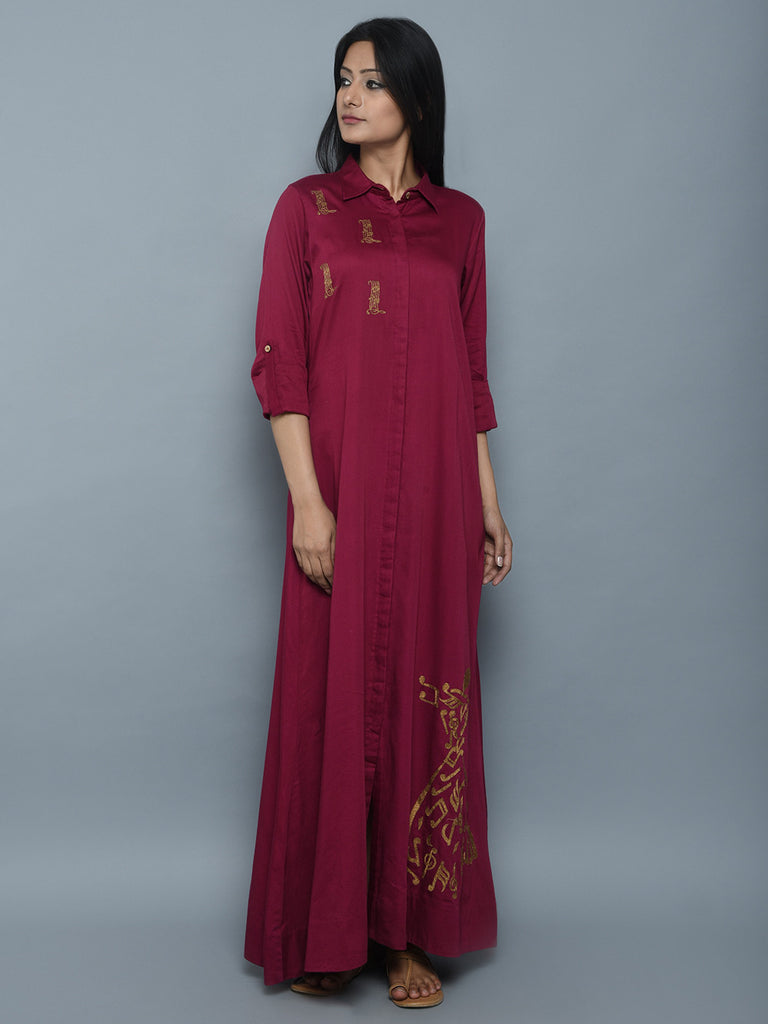 Maroon Hand Embroidered Cotton Silk Dress