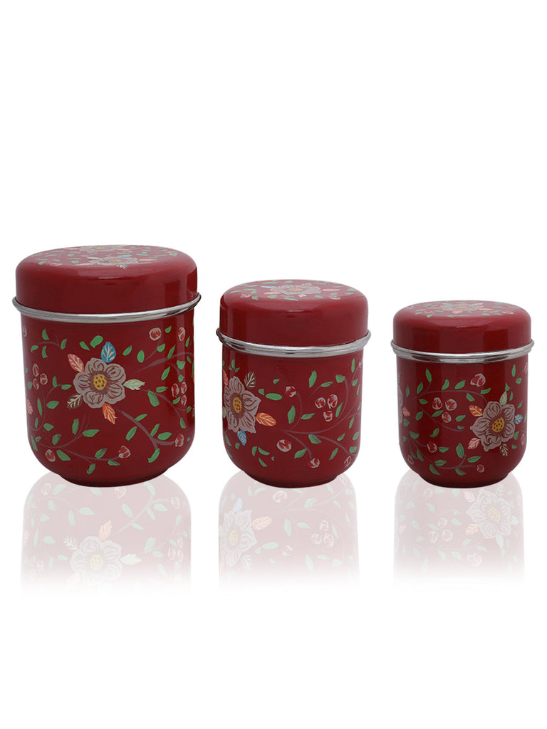 Maroon Hand Painted Steel Canisters - Set of 3