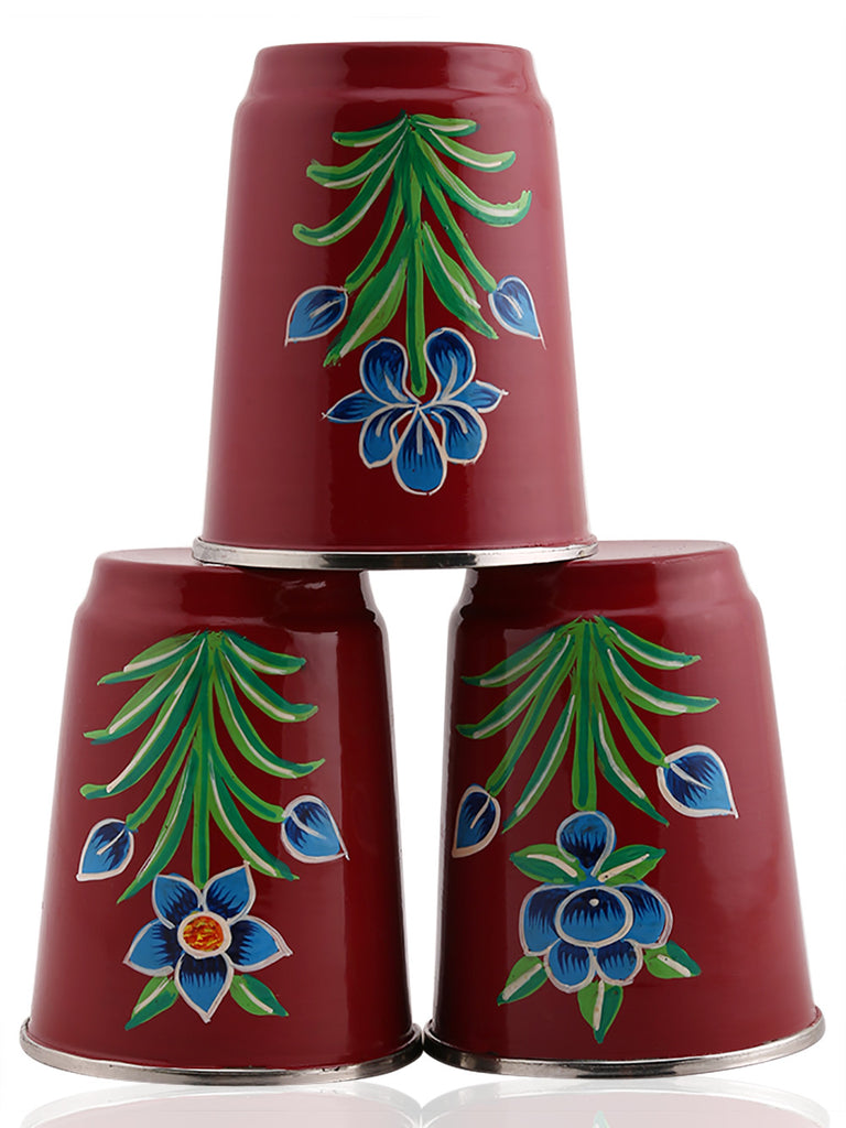 Maroon Hand Painted Steel Tumblers - Set of 3