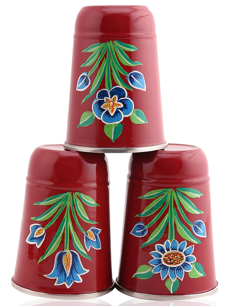 Maroon Blue Floral Hand Painted Steel Tumblers - Set of 3