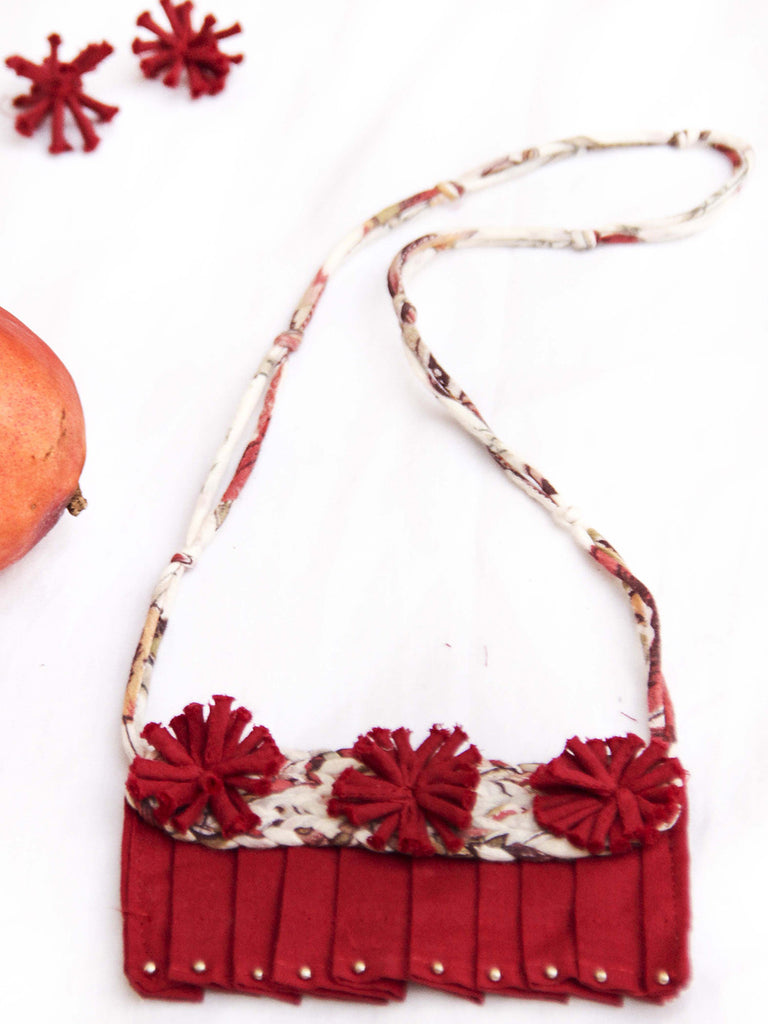 Maroon Handcrafted Pleated Necklace