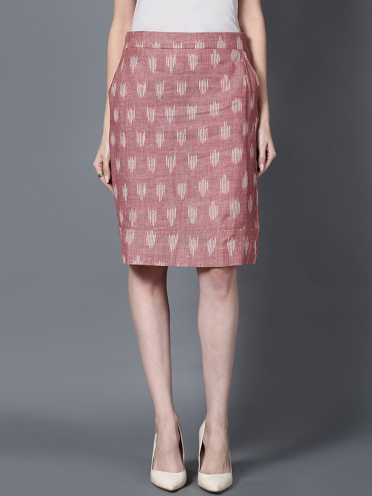Maroon Handloom Cotton Ikat Straight Skirt