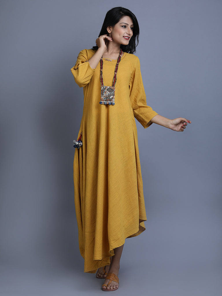 Mustard Khadi Asymmetric Dress with Kalamkari Neckpiece