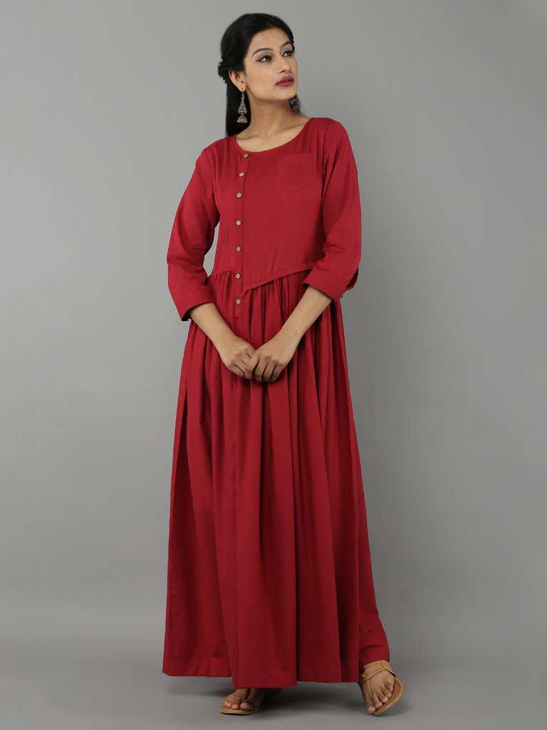Maroon Khadi Dress with Gathers