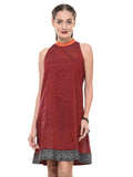 Maroon Mangalgiri Dress with Printed Border