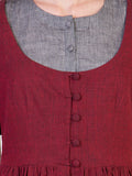 Maroon Mangalgiri Cotton Tunic with Grey Inner