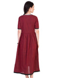 Maroon Mangalgiri Tunic with Grey Inner