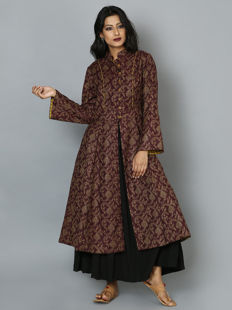 Maroon Mustard Rayon Cotton Reversible Over Coat
