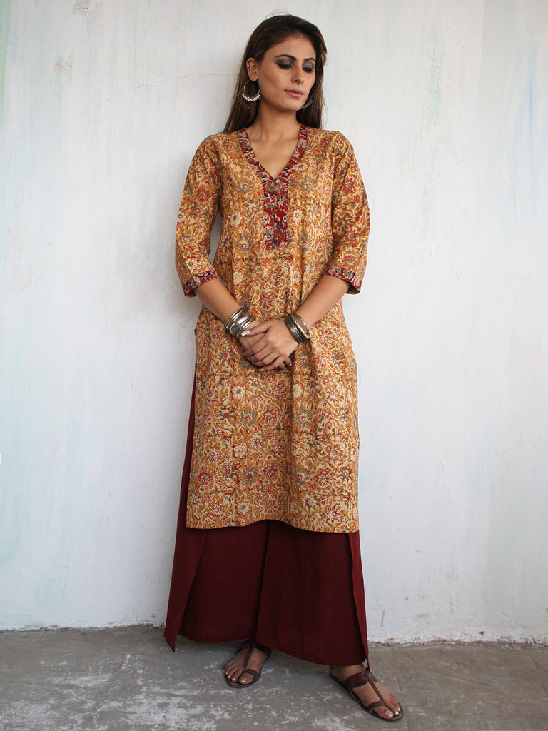 Maroon Orange Cotton Kalamkari Block Printed Kurta