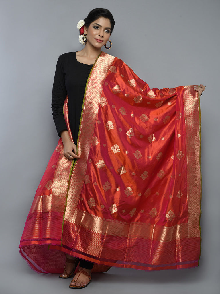 Red Orange Handwoven Banarasi Dupatta