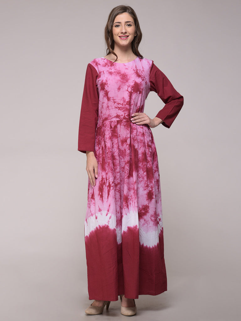 Maroon Pink Tie and Dye Cotton Dress