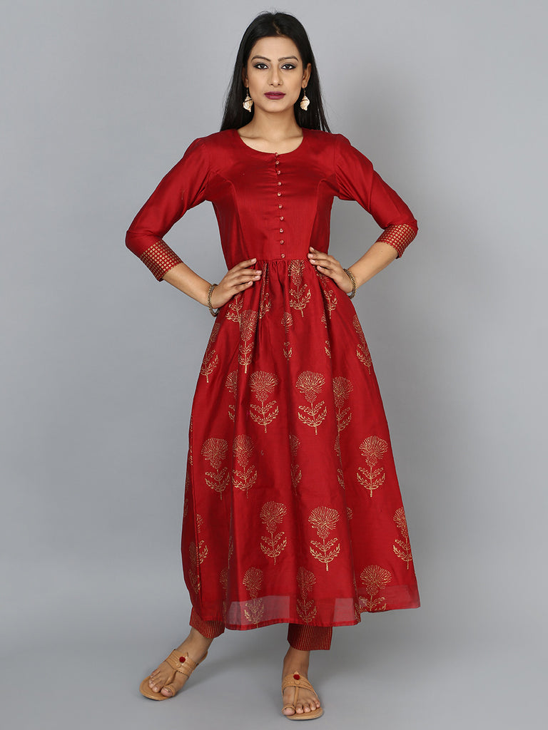 Maroon Red Chanderi Floral Anarkali with Pants - Set of 2