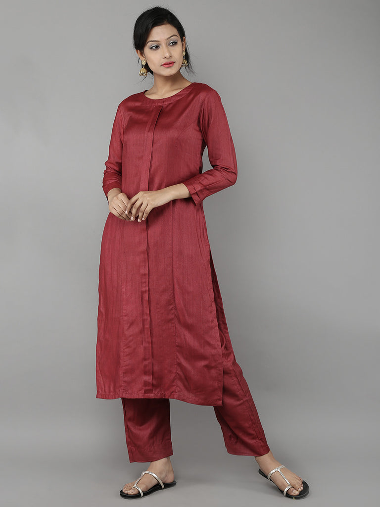 Maroon Silk Straight Kurta with Pants- Set of 2