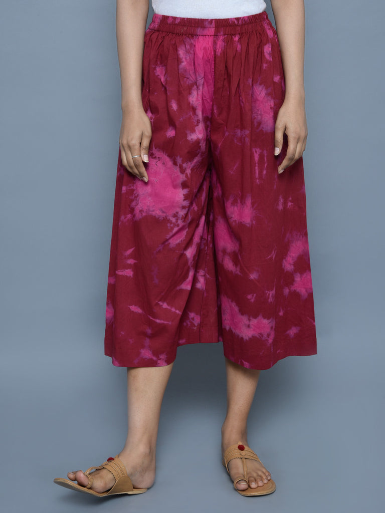 Maroon Tie and Dye Cotton Culottes