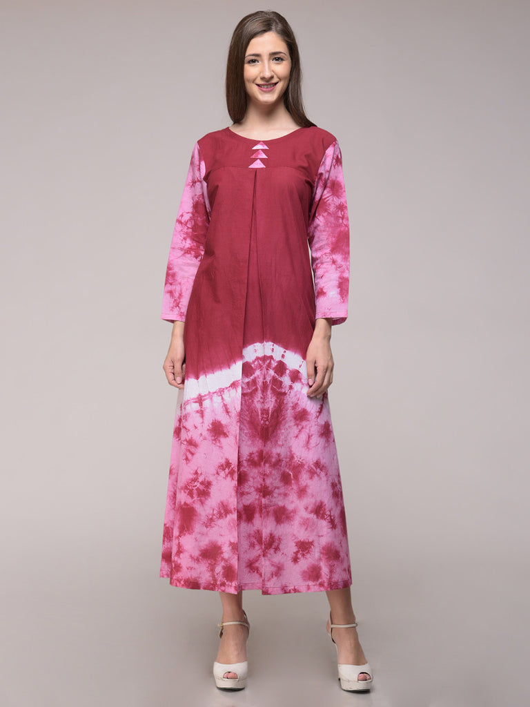 Maroon Pink Tie and Dye Cotton Pleated Dress