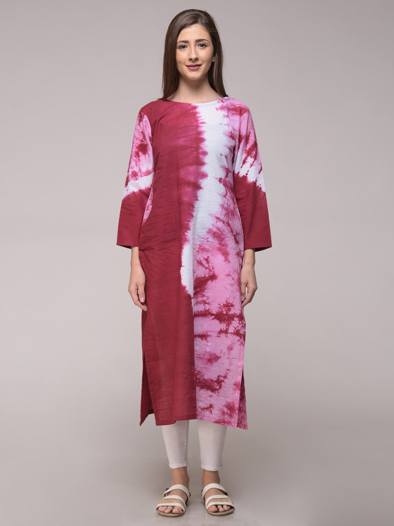 Maroon Tie and Dye Wave Pattern Cotton Kurta