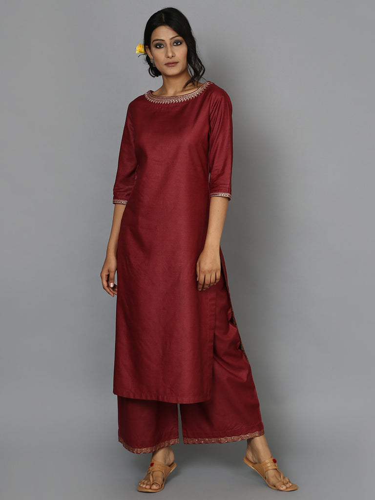 Maroon Tussar Cotton Neck Detail Kurta