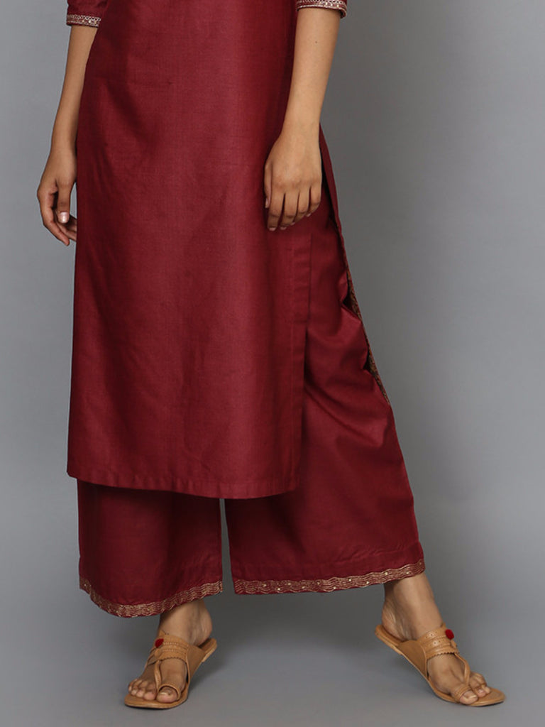 Maroon Tussar Cotton Wave Detail Palazzo