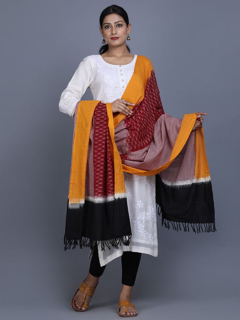 Maroon Yellow Black Cotton Ikat Dupatta