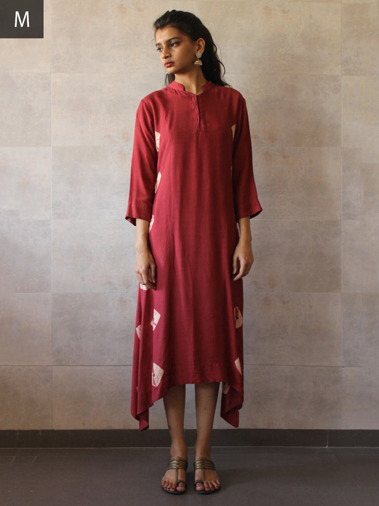 Maroon Cotton Silk Asymmetrical Bandhej Tunic