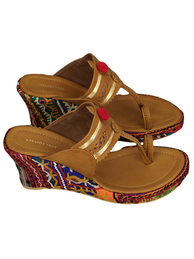 Multicolor Handcrafted Leather Wedges