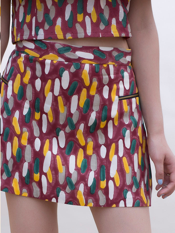 Maroon Block Printed Twill Mini Skirt