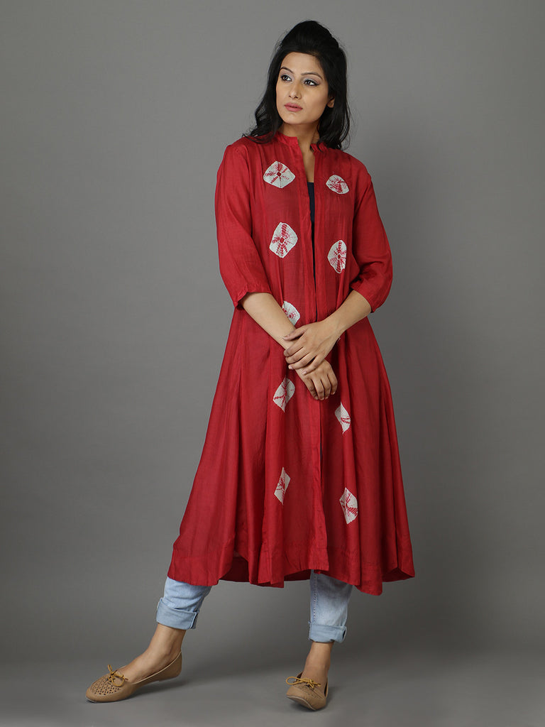 Maroon Cotton Silk Bandhej Cape