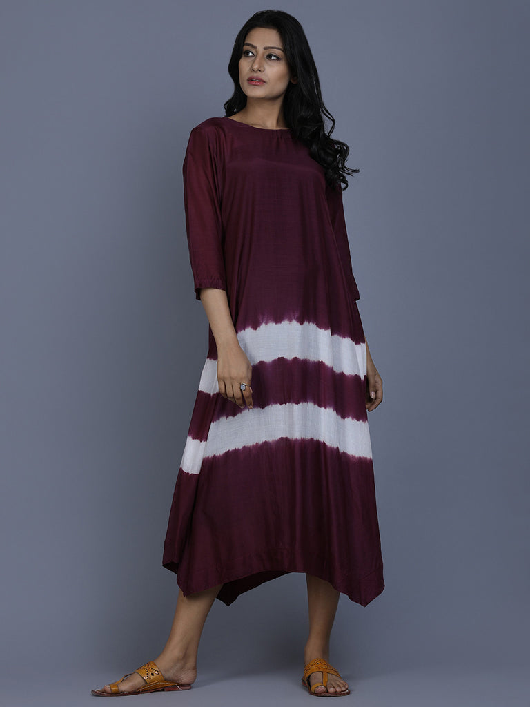 Burgundy Cotton Silk Batik Dress