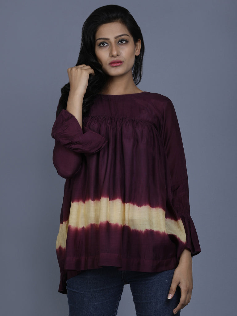 Marsala Cotton Silk Batik Top