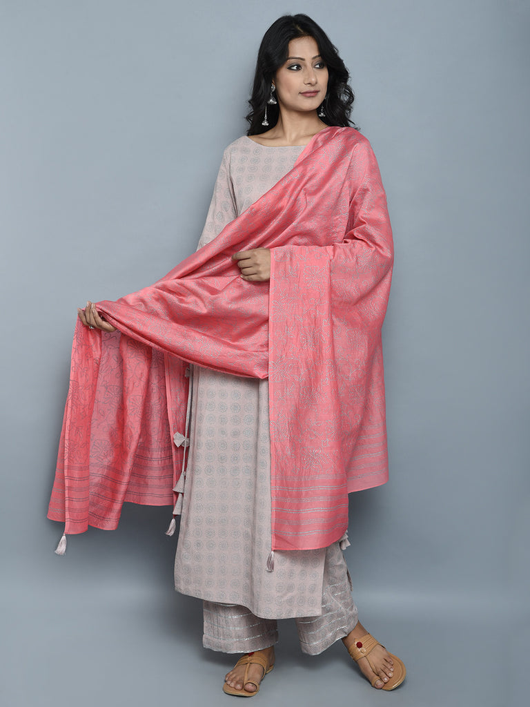 Mauve Block Printed Khadi Kurta and Pants with Pink Chanderi Dupatta - Set of 3
