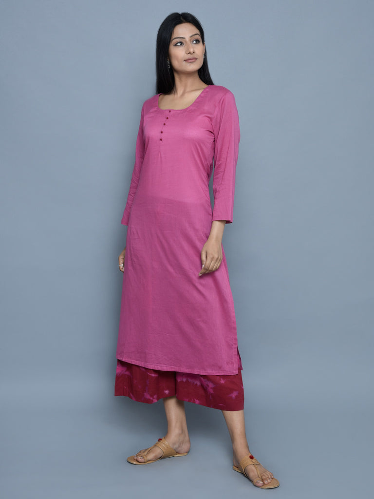 Mauve Cotton Straight Kurta with Maroon Tie and Dye Culottes - Set of 2